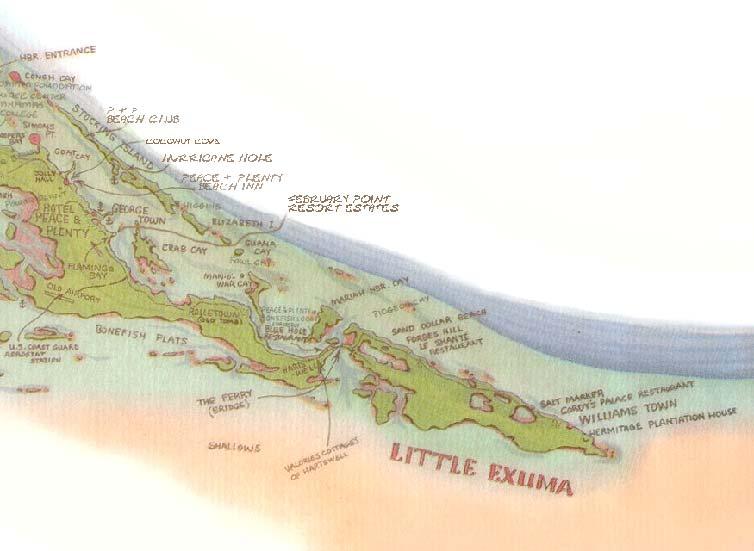 Great Exuma Island Bahamas Map: Map Of Little Exuma Bahamas At Usa Maps